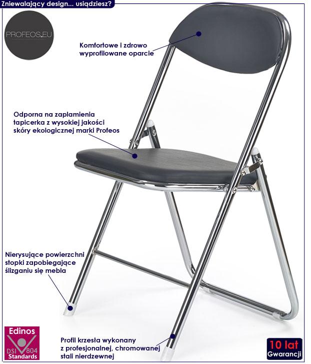 Czarne krzesło konferencyjne do biura Dagon