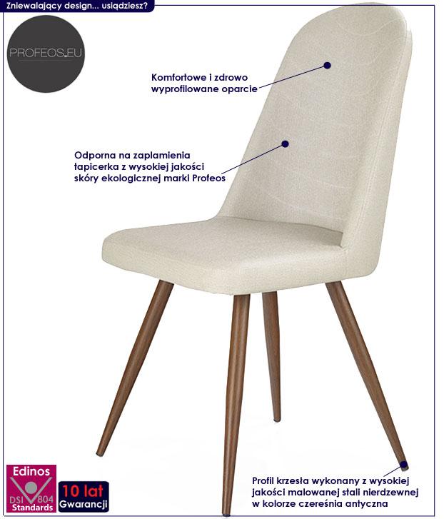krzesło w stylu skandynawskim kremowe czereśnia Dalal