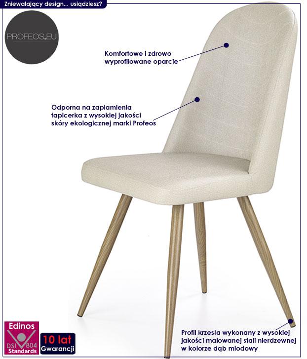 skandynawskie krzesło kremowe dąb miodowy Dalal