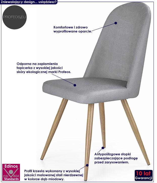 Szare krzesło w skandynawskim stylu Dalal