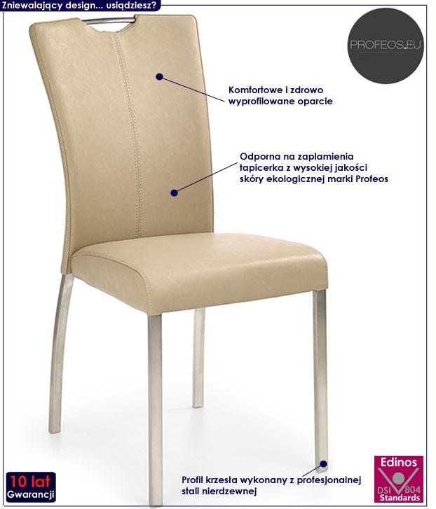 Beżowe krzesło kuchenne do stołu Defiks