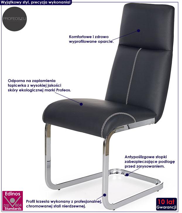 Czarne nowoczesne krzesło do kuchni, salonu Dexor
