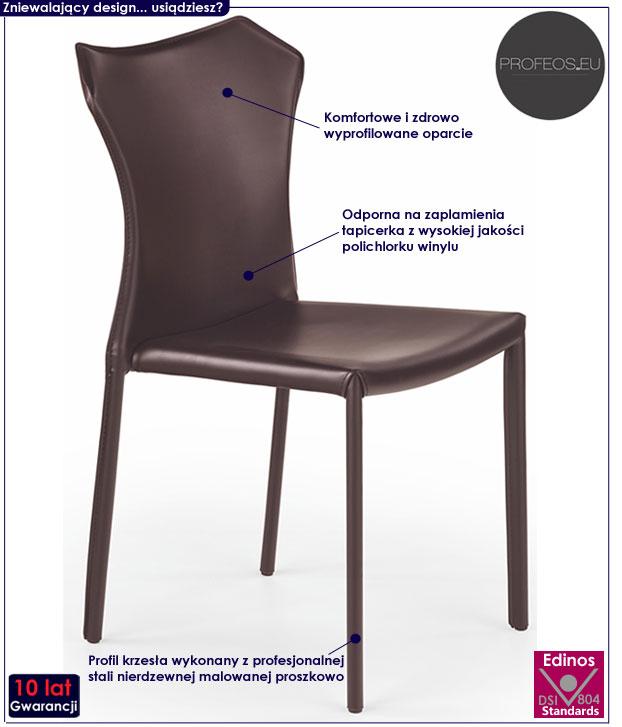 Nowoczesne krzesło do stołu, brązowe Dibler