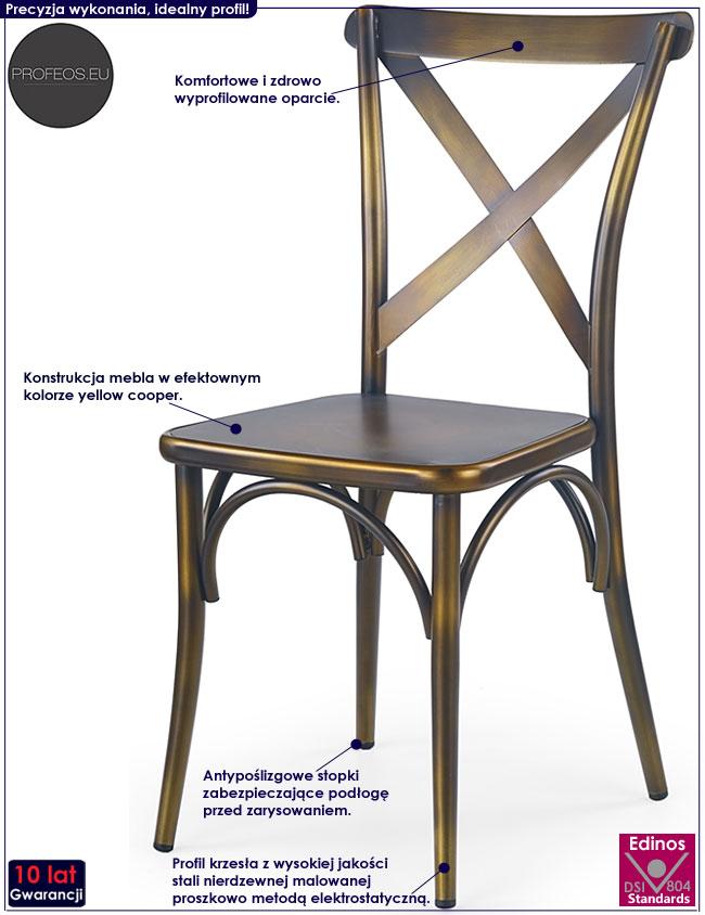 Beżowe krzesło kuchenne, metalowe Diskin