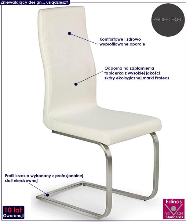 Kremowe krzesło kuchenne do stołu Ebris