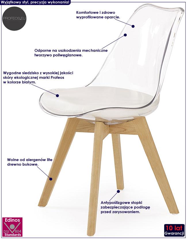 Przezroczyste krzesło drewniane Edwin