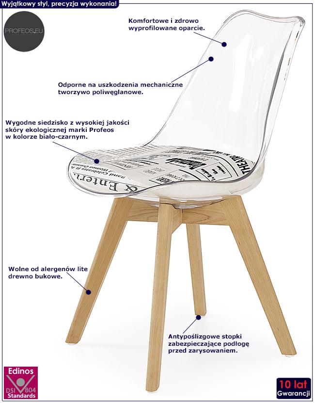 Przezroczyste krzesło kuchenne Edwin 2X