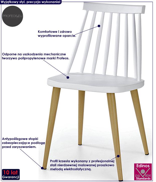 Skandynawskie białe krzesło kuchenne Erfan