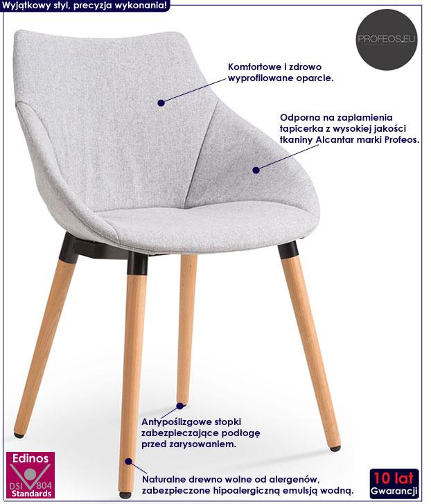 Krzesło drewniane w stylu Eames szare Errol