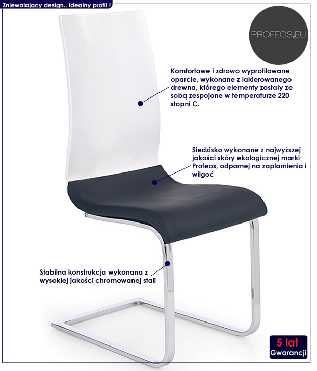 Krzesło kuchenne cappuccino, białe Faran