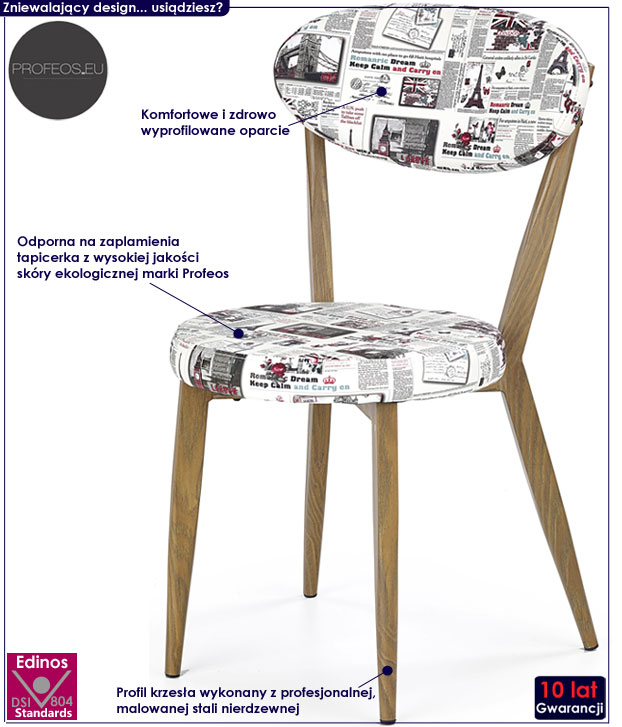 Nowoczesne białe krzesło do stołu, jadalni Felmer