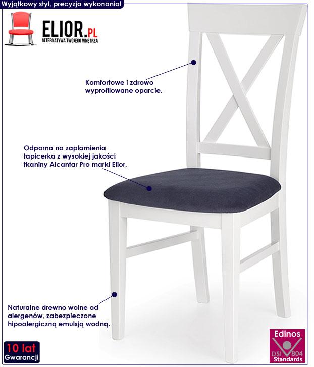 Drewniane białe krzesło kuchenne Fiton