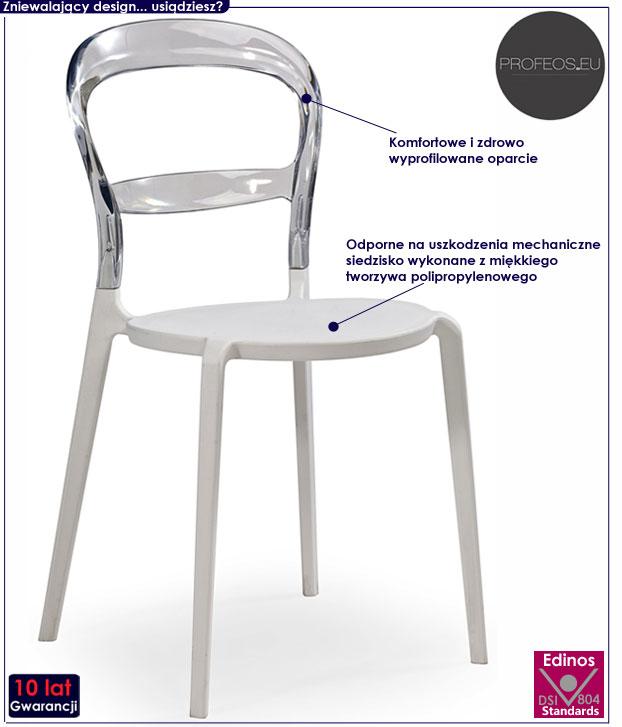 transparentne krzesło kuchenne przezroczyste białe George