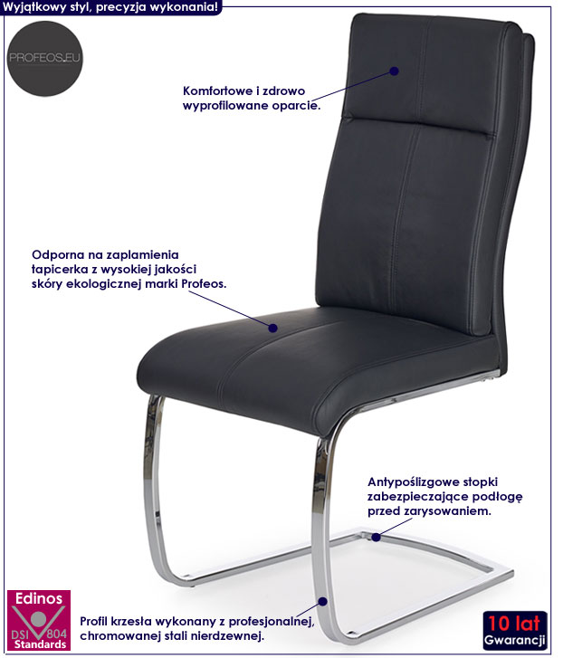 Nowoczesne, wygodne krzesło czarne Gerdan