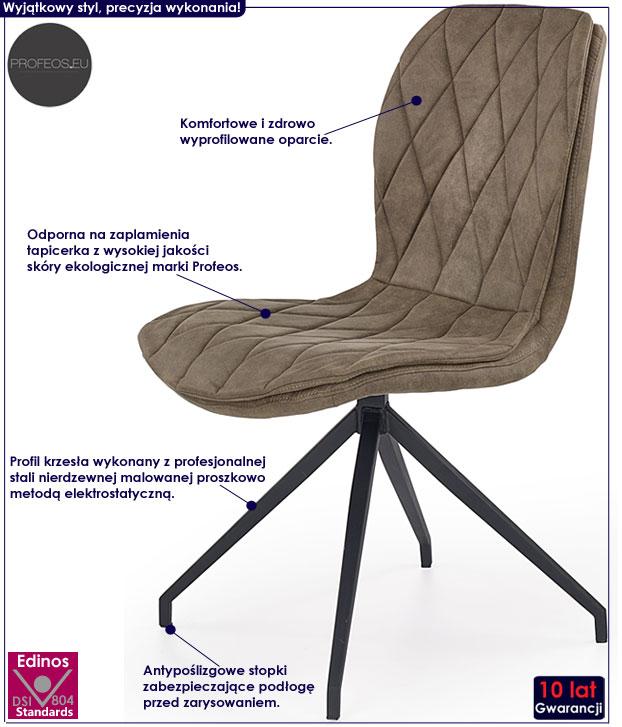 Nowoczesne beżowe krzesło kuchenne Gimer