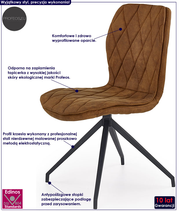 Brązowe krzesło w minimalistycznym stylu Gimer