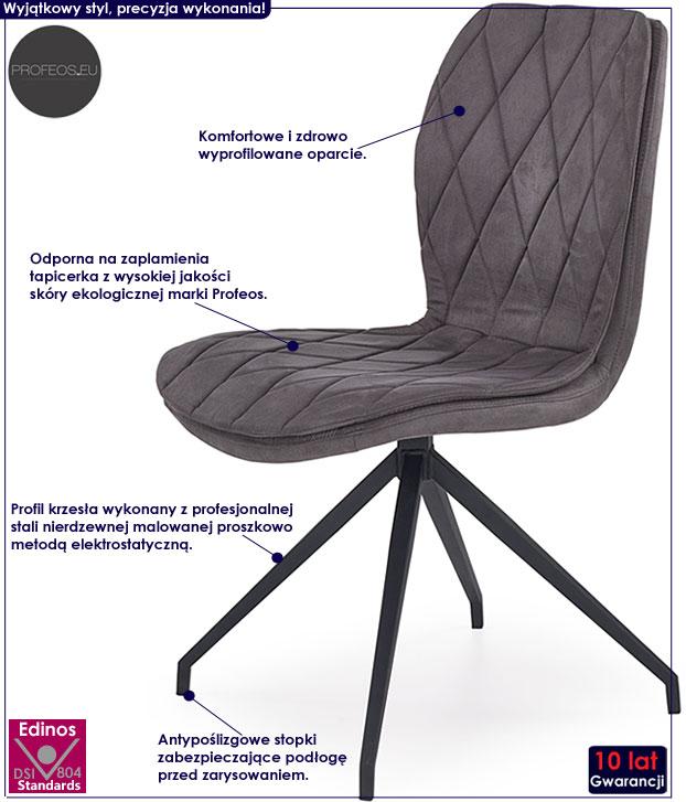 Szare krzesło industrialne do loftu Gimer