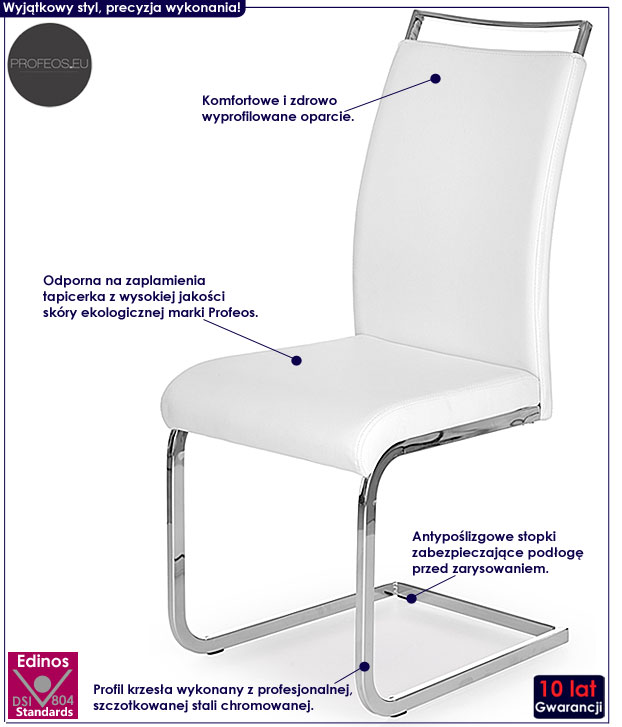 Skandynawskie białe krzesło kuchenne Hader