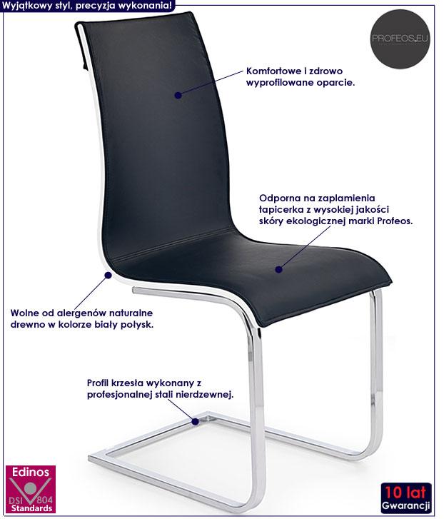 Nowoczesne krzesło czarne, biały połysk Harry