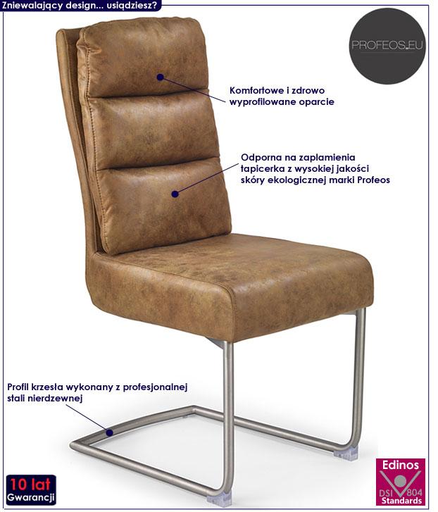 Brązowe krzesło do stołu, tapicerowane Helit
