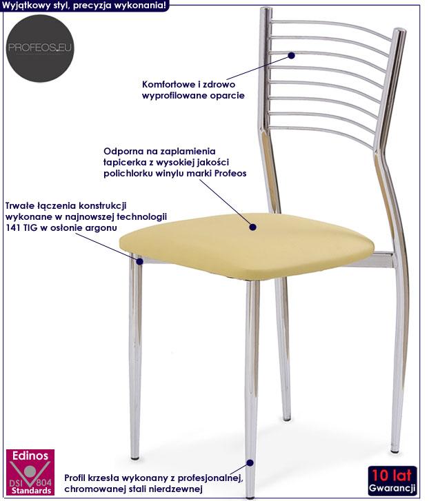 Nowoczesne krzesło do stołu beżowe Hider