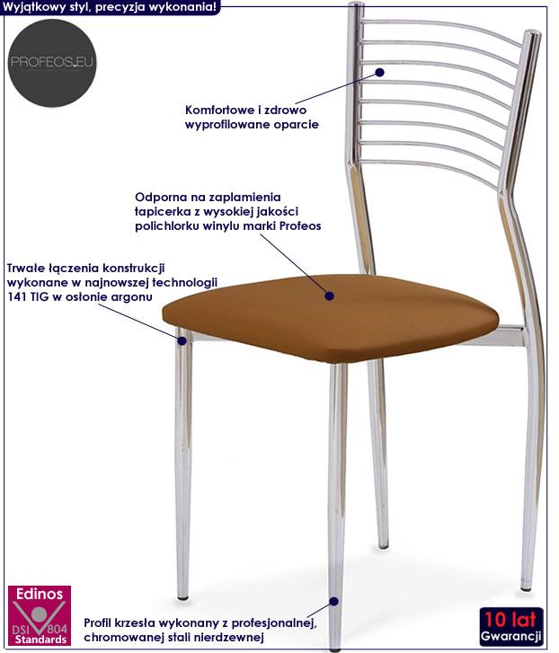 Brązowe krzesło chromowane Hider