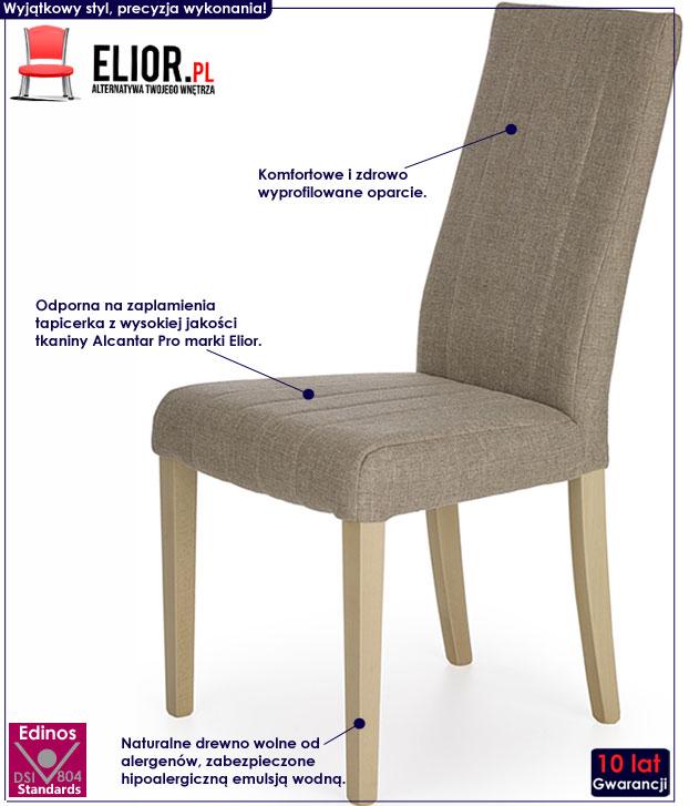 Beżowe krzesło kuchenne tapicerowane Iston