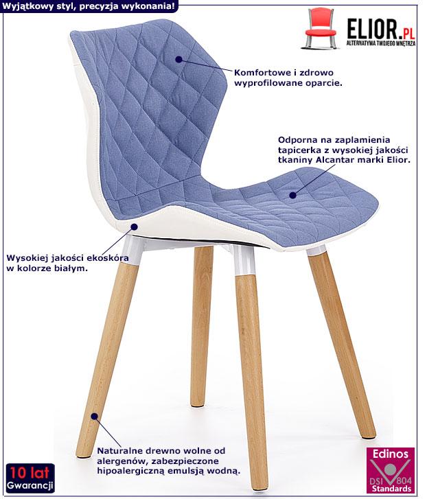 Niebieskie krzesło do stołu, biurka Kilmer