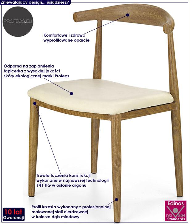 Tapicerowane krzesło do kuchni, jadalni Klimer