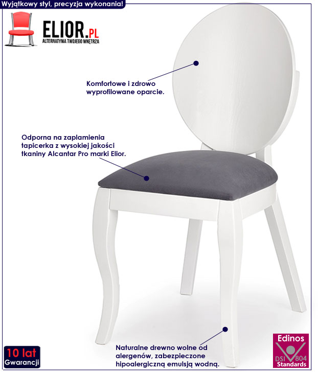 Drewniane białe krzesło w stylu skandynawskim Lavon
