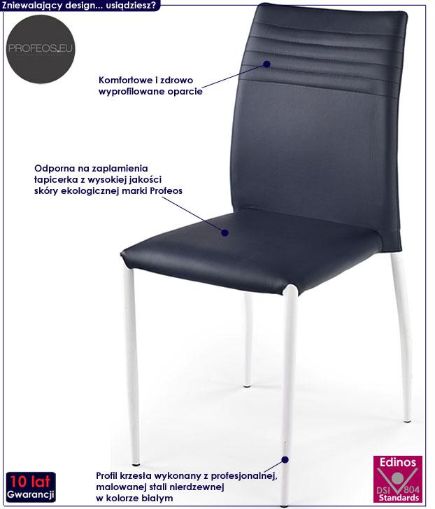 Stalowe krzesło do salonu, tapicerowane Lenton