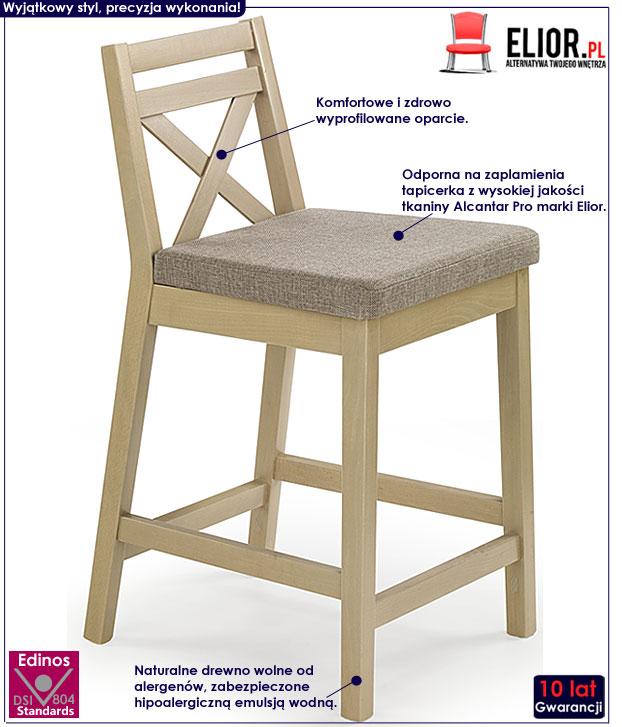 Drewniane krzesło barowe Lidan