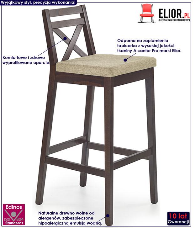 Wysokie krzesło barowe, hoker drewniany Lidan 2X
