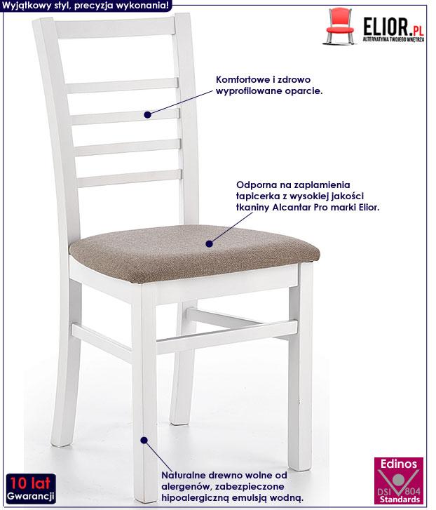 Białe krzesło kuchenne do stołu Loren