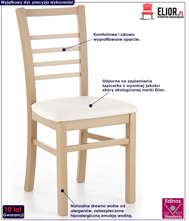 Krzesło do kuchni, jadalni dąb miodowy Loren
