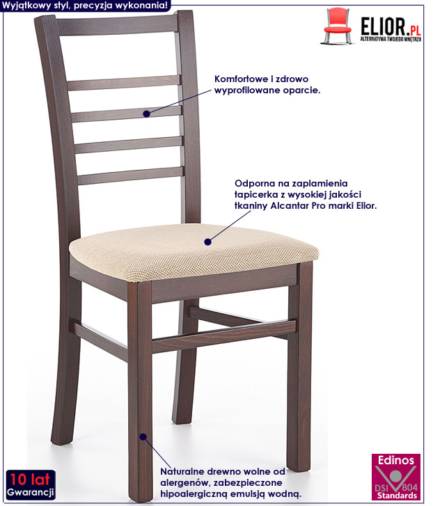 Krzesło drewniane, kuchenne ciemny orzech Loren