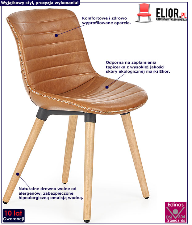 Brązowe krzesło tapicerowane do kuchni Lorien