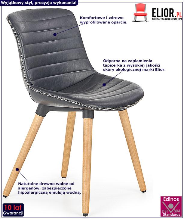 Czarne krzesło drewniane do stołu Lorien