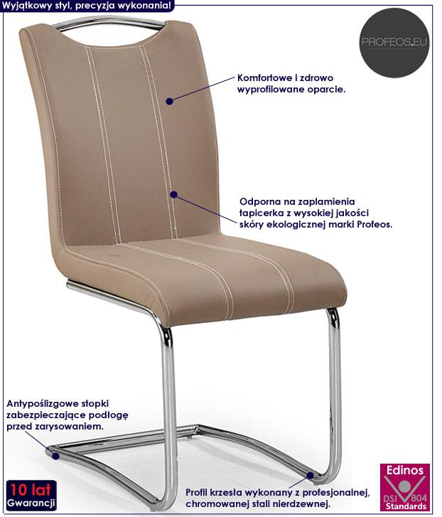 Beżowe krzesło tapicerowane cappuccino Master