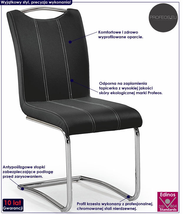 Tapicerowane krzesło kuchenne czarne Master