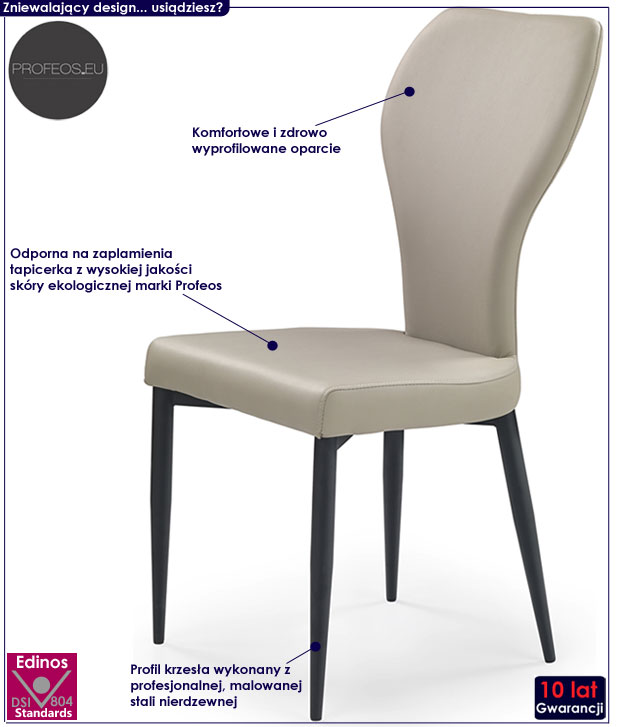 Nowoczesne krzesło beżowe do stołu Metor