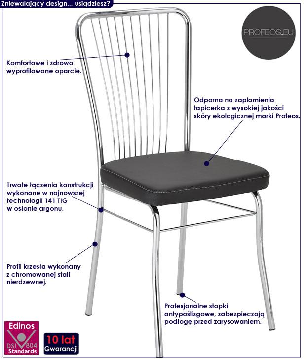 krzesło metalowe czarne Neris