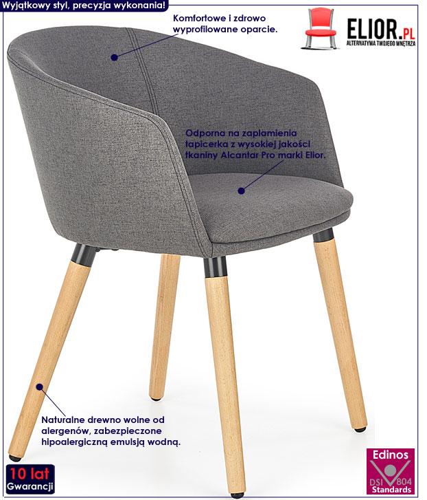 Ciemnoszare krzesło drewniane do salonu Nevil