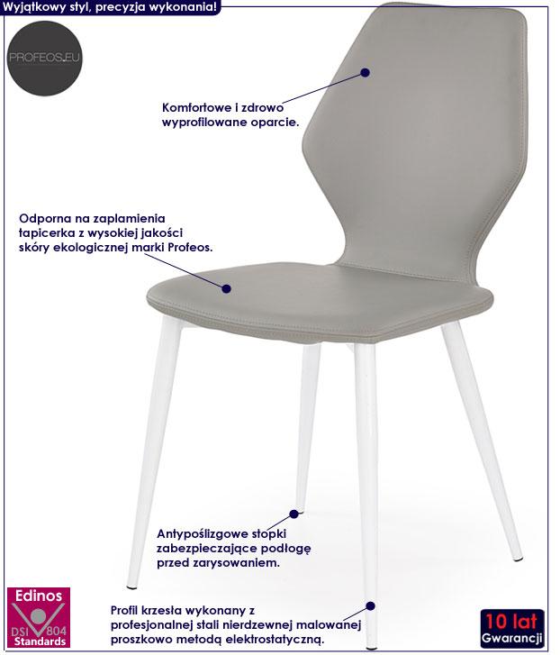 Szare krzesło tapicerowane Nolin