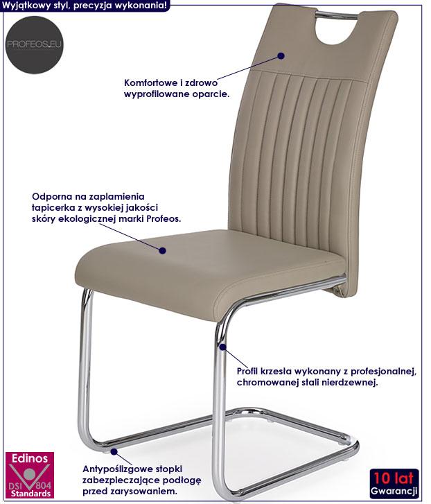 Beżowe krzesło do stołu cappuccino Noxin