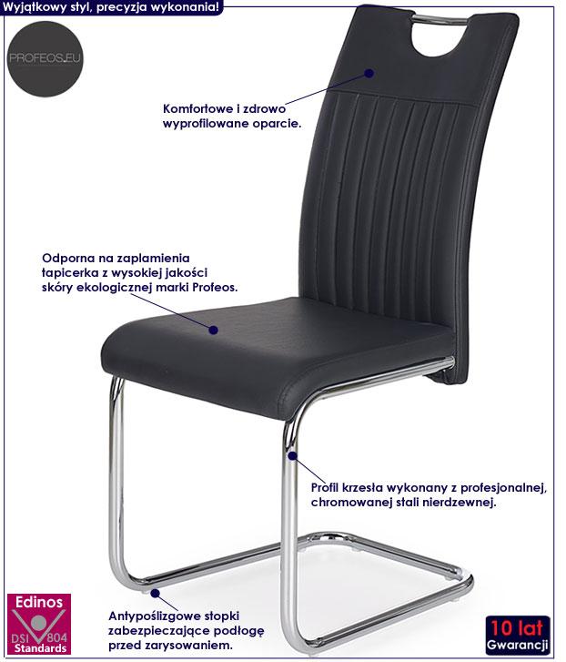 Nowoczesne czarne krzesło kuchenne Noxin
