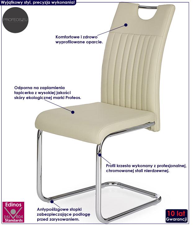 Kremowe krzesło tapicerowane do kuchni, jadalni Noxin