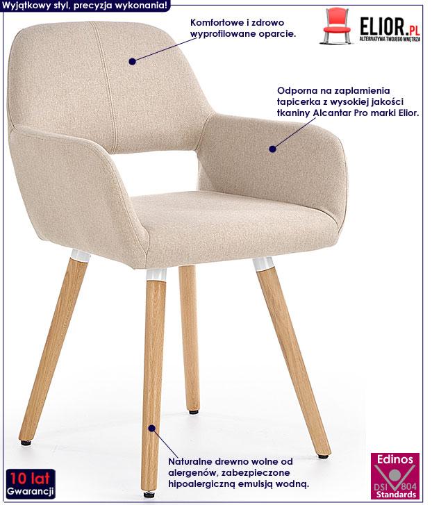 Beżowe krzesło skandynawskie do stołu, biurka Odeon
