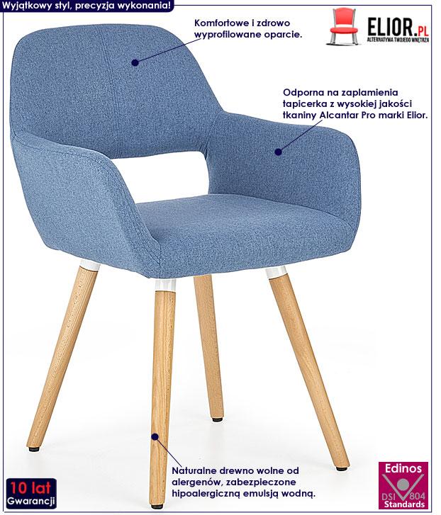 Niebieskie krzesło drewniane do jadalni Odeon