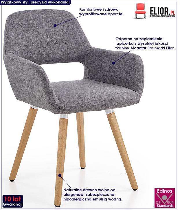 Drewniane szare krzesło tapicerowane Odeon